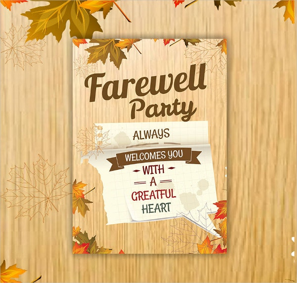 Farewell 7 x 5 Invitation Card Template