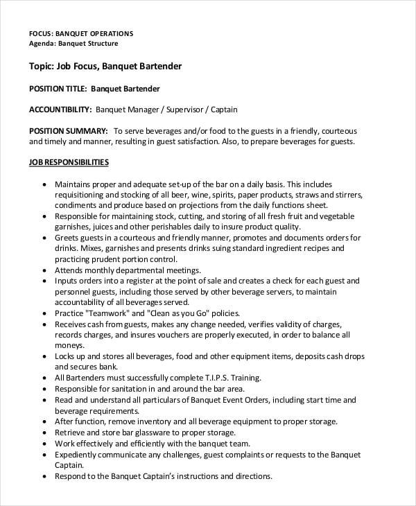how to write resume for bartender