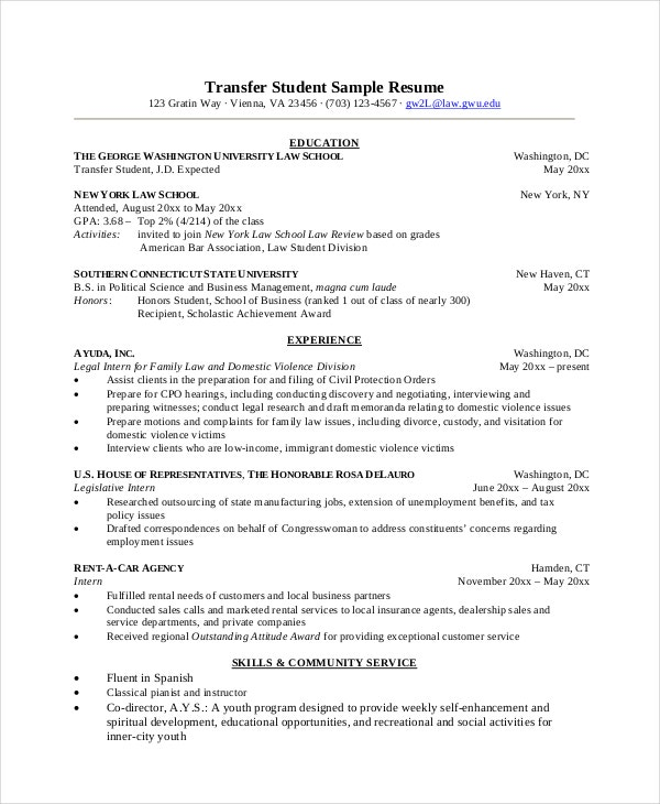 Transfer Student Sample Resume  Sample Student Resume