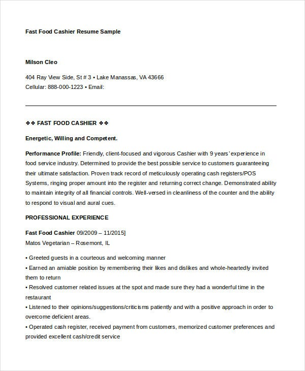 fast food cashier resume - Example Resume For Cashier