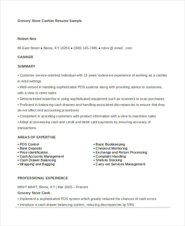 Great Grocery Store Cashier Resume Template