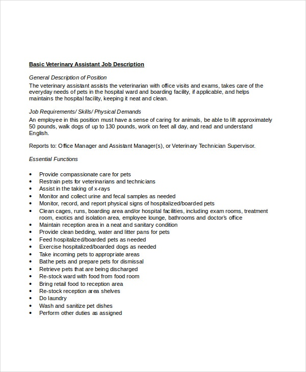 10 Veterinarian Job Description Templates Pdf Doc