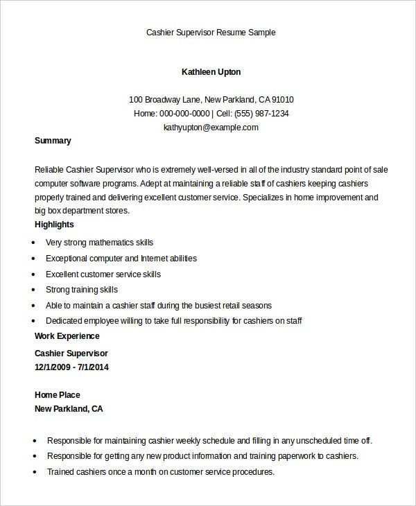 Awesome Cashier Supervisor Resume Sample