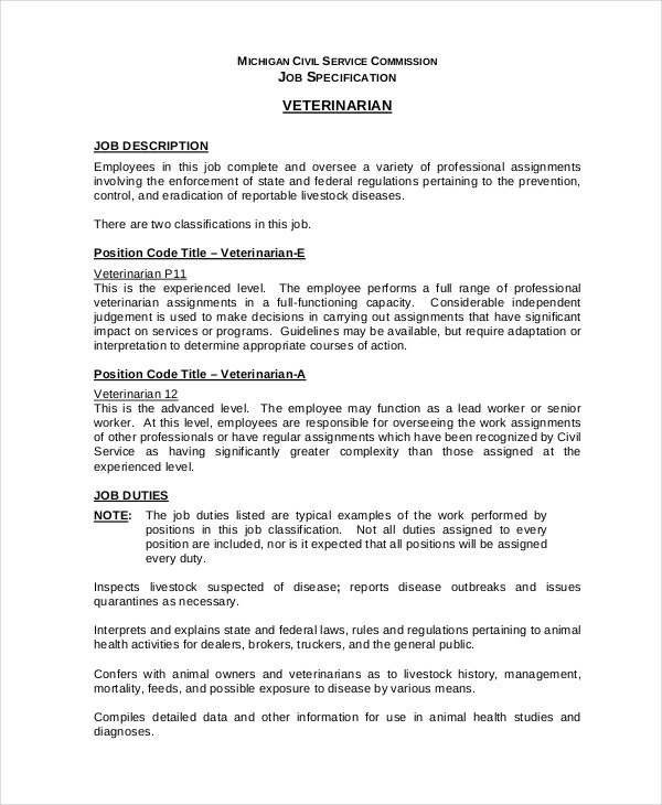Veterinarian Job Description   Free Word Pdf Documents