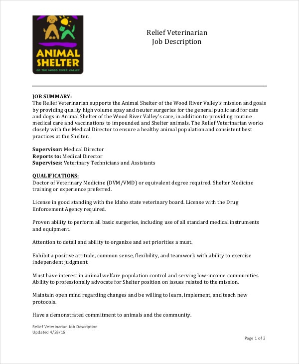 Veterinarian Job Description Templates  Pdf Doc  Free