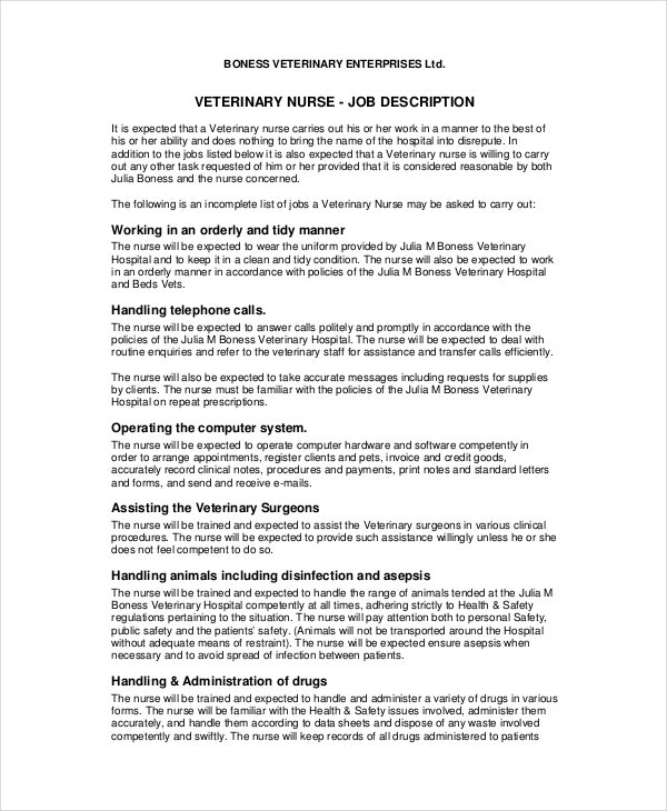 Veterinarian Job Description - 10+ Free Word, Pdf Documents