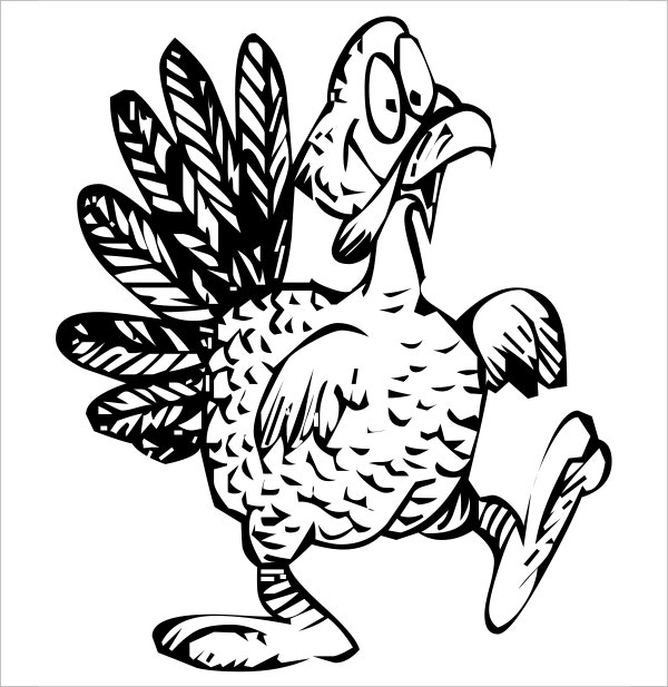 Turkey cartoon colouring page