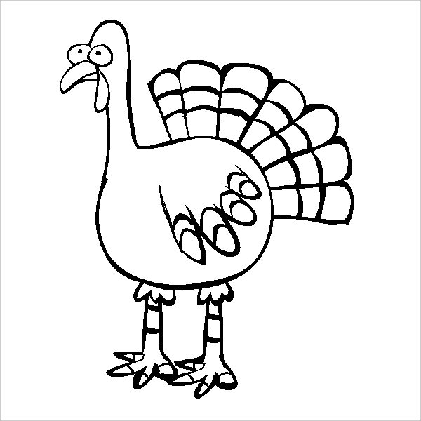 Feathered Turkey Online Coloring Page