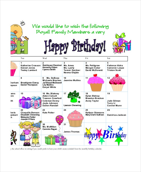 family birthday calendar template birthday calendar 11 free word pdf psd documents