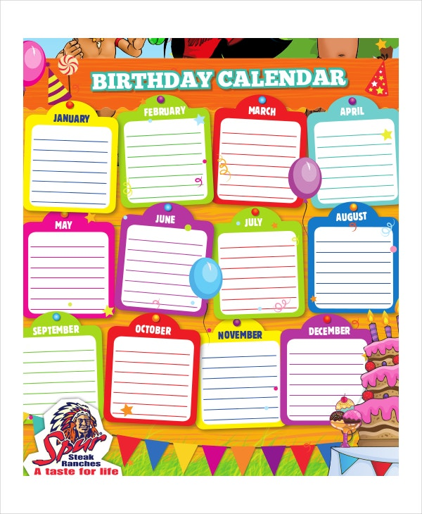birthday chart template for classroom - birthday calendar 11 free word pdf psd documents
