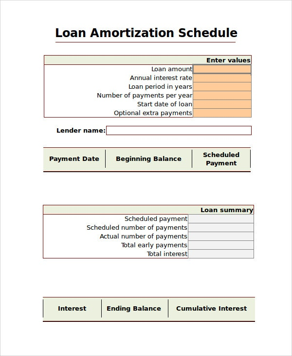amortization chart excel template