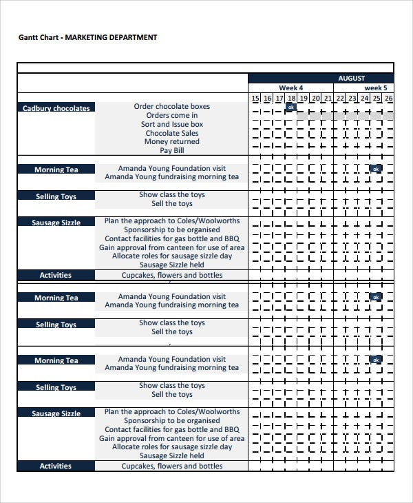 marketing gantt chart template