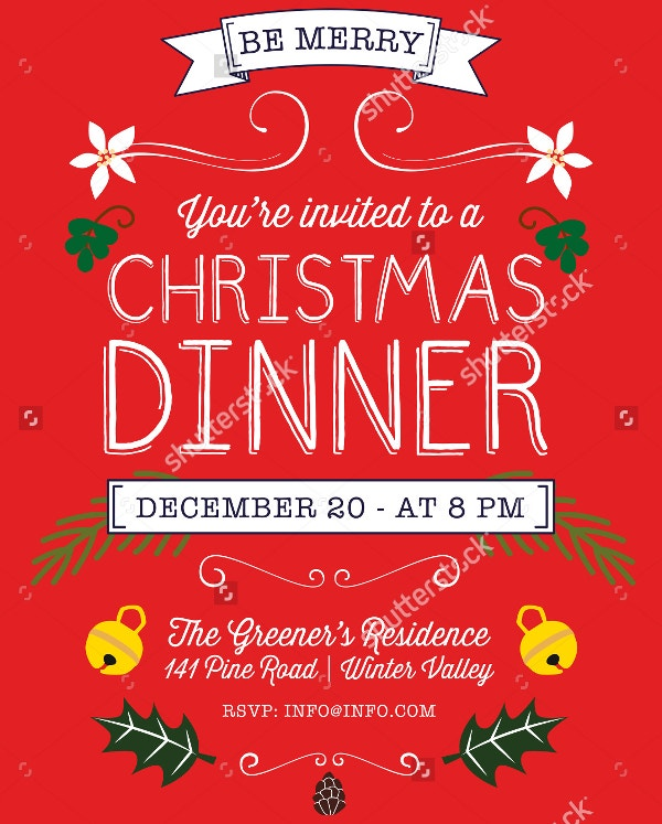 Christmas dinner flyer template