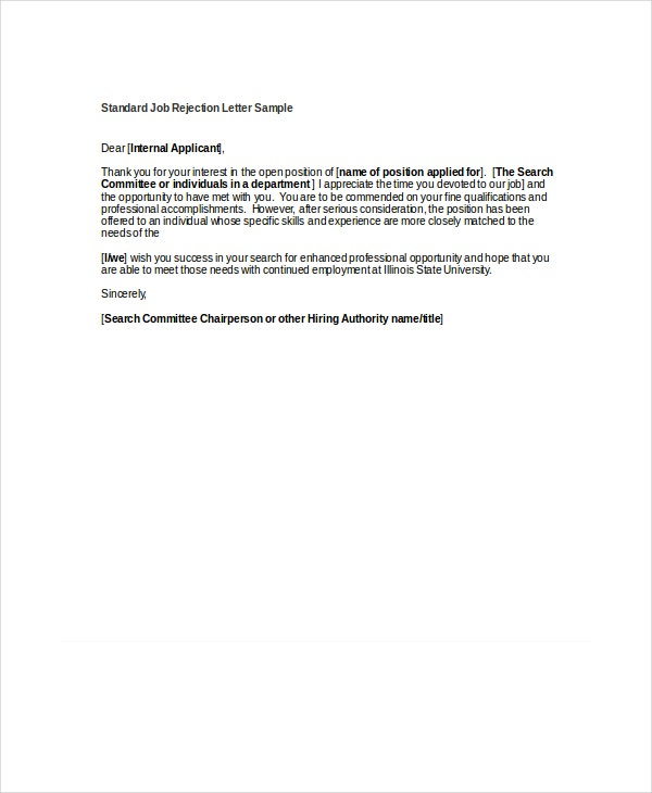 standard job rejection letter sample1