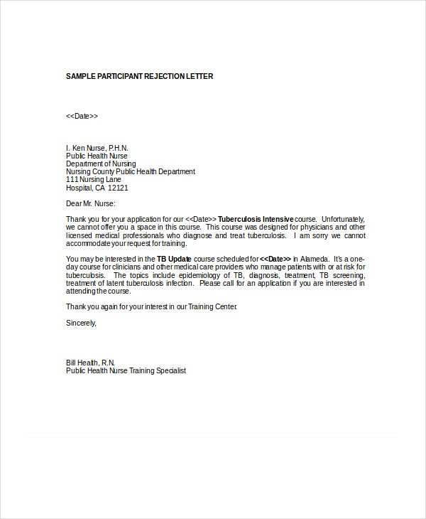 sample participant rejection letter