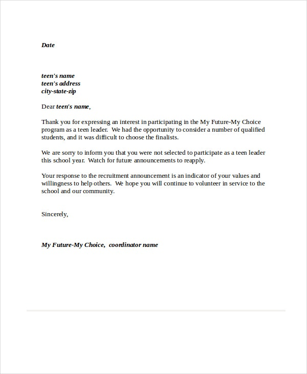 teen leader rejection letter in pdf