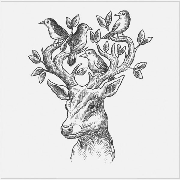 deer with birds and leaves drawing