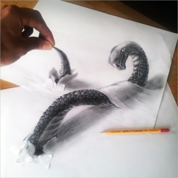 snake art drawing