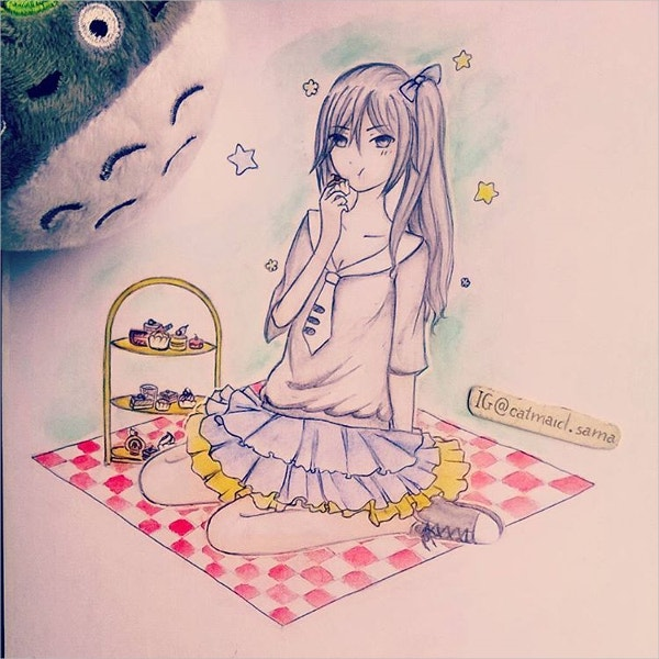 cute girl drawing