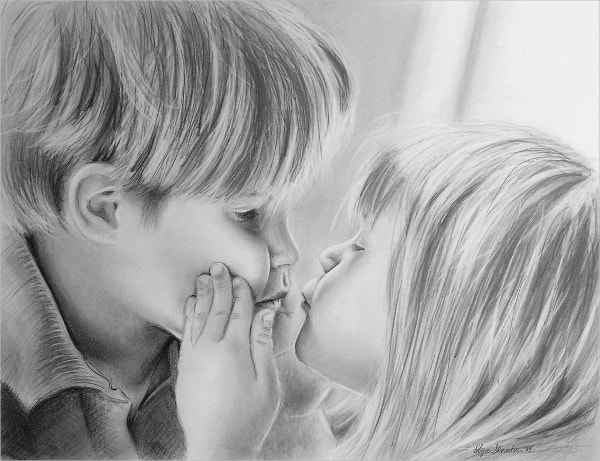 kid kissing drawing