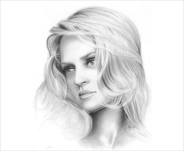 beautiful girl drawing