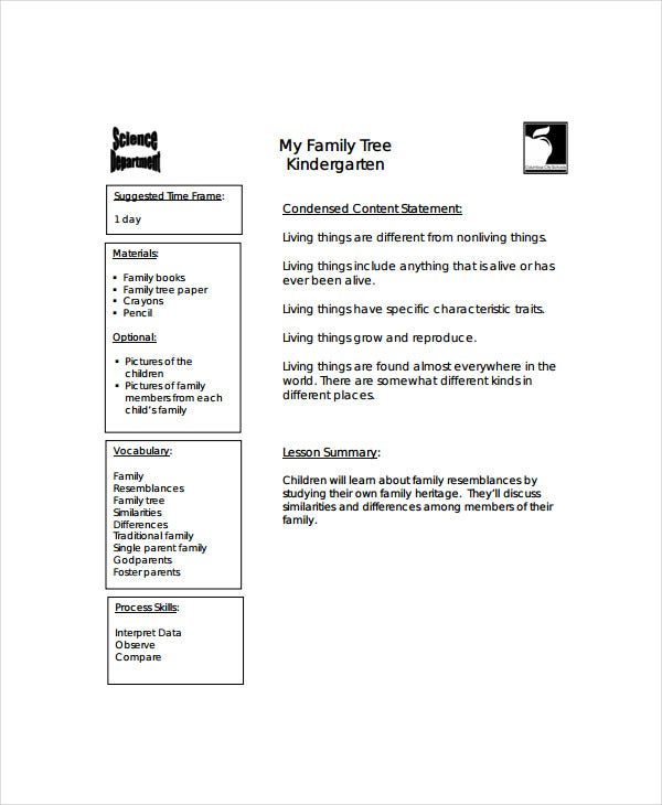 family tree template for kindergarten