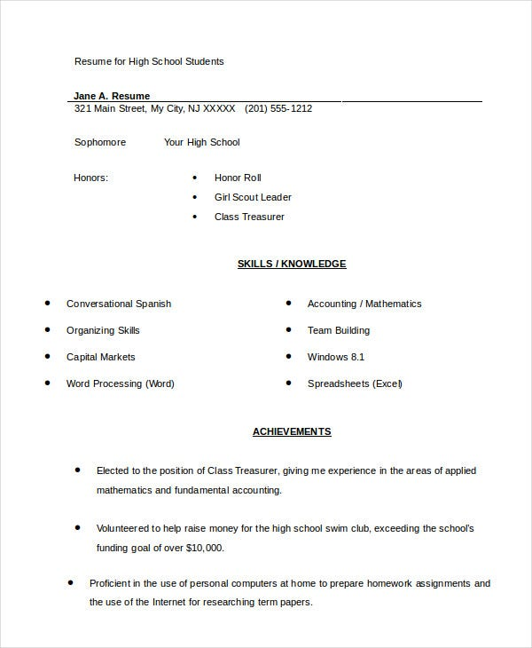 high school student resume for samples free examples templates