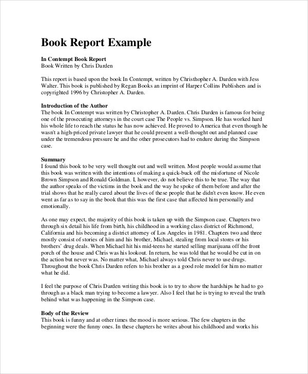 Book Report Format 8 Free Word PDF Documents Download – Sample Book Summary Template