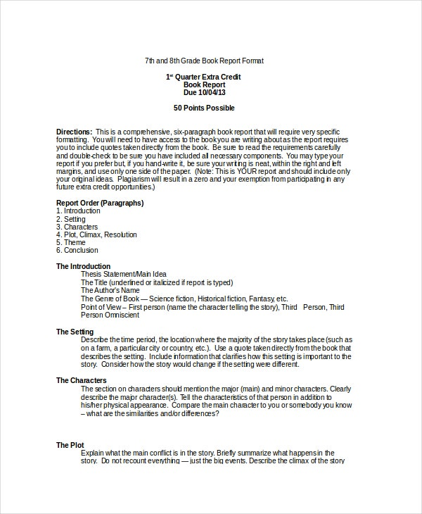 9th grade book report Book report alternative—8th grade in place of the traditional book report, you may present all of the required information on the front side of this handout in.