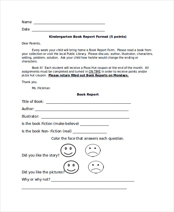 kindergarten book report format
