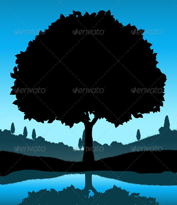 Nature Landscape with Tree Silhouette