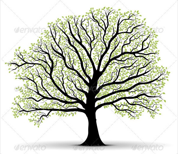 Big Vector Tree Illustration Silhouette