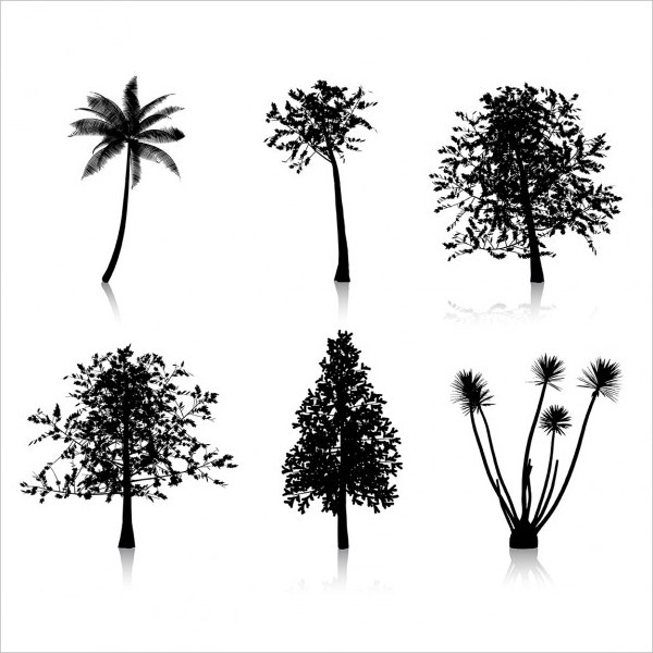 Six different Tree Silhouettes Free Vector