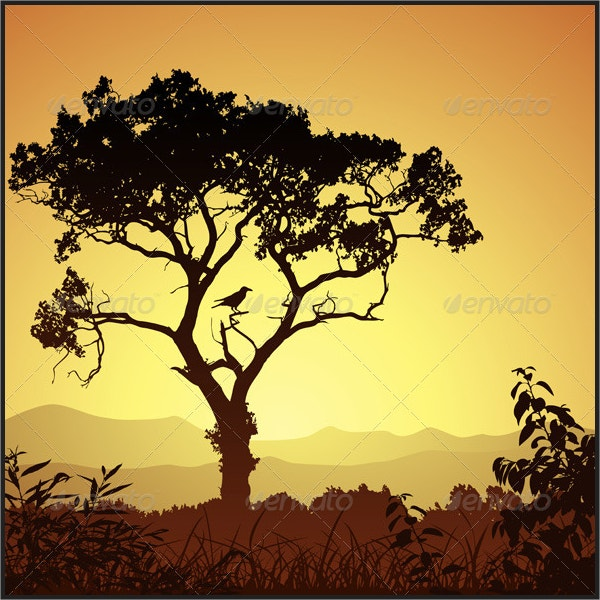 Bird and Tree Silhouette