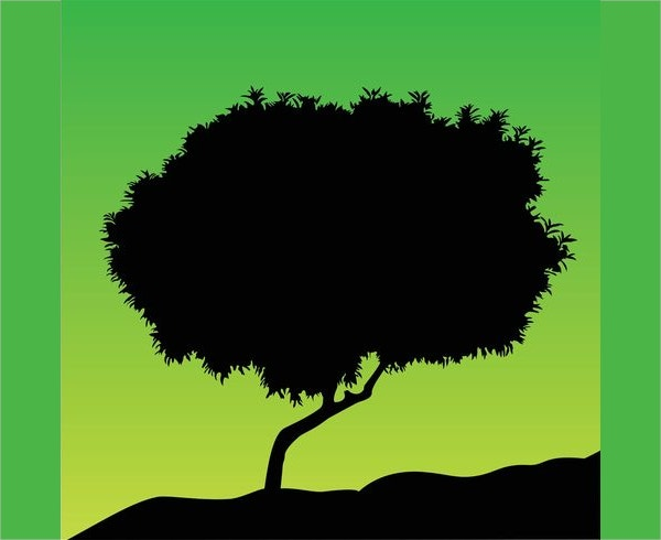 Green Background Tree Silhouette Vector