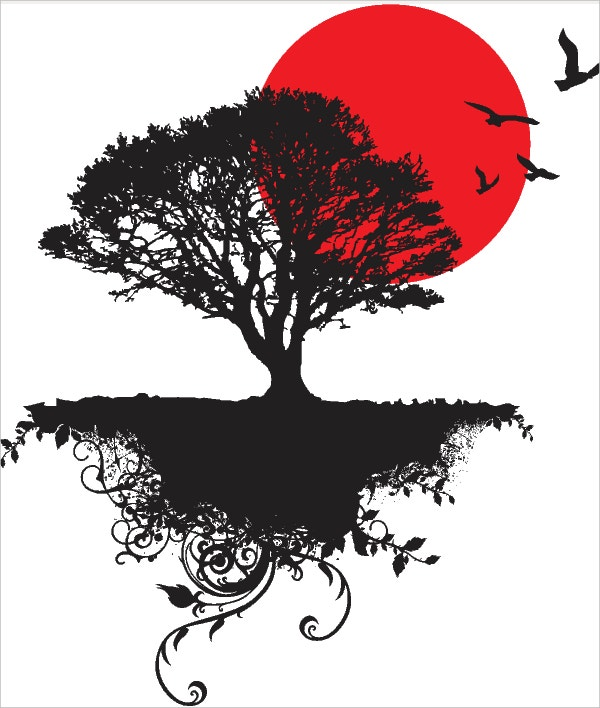 Beautiful Black Silhouette Floral Art Tree Birds