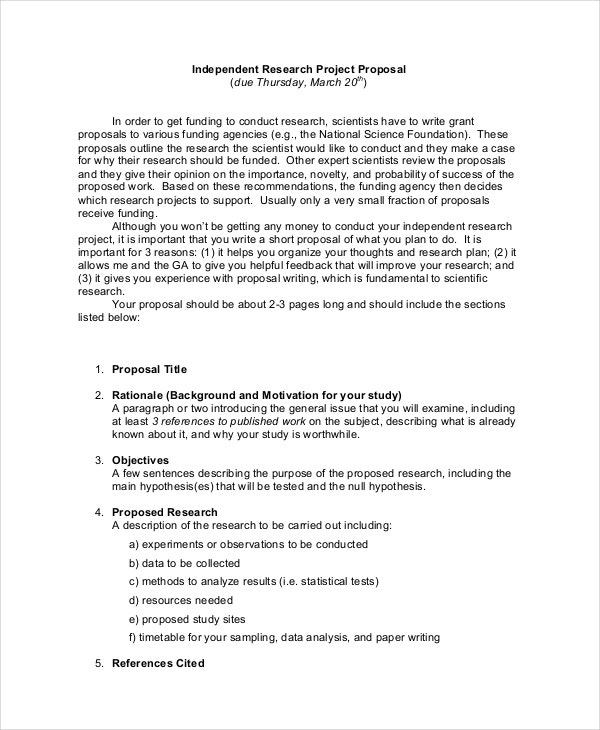 simple research project proposal template
