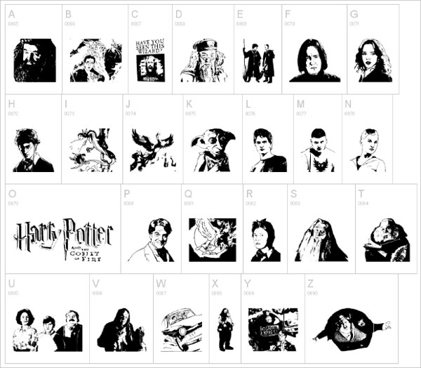 harry potter and the dingbats font2