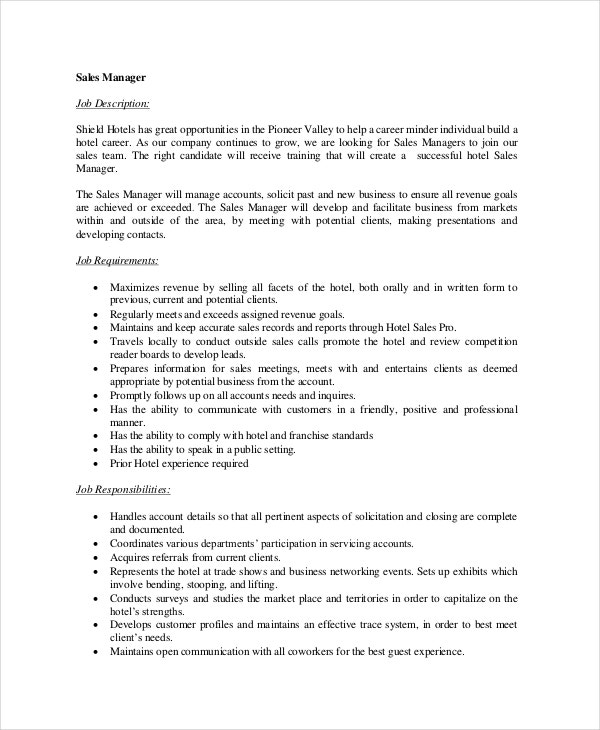 Sales Manager Job Description  Free Sample Example Format
