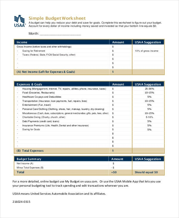 Printable Budget Worksheet Template 11 Free Word Excel PDF – Budget Worksheet Template