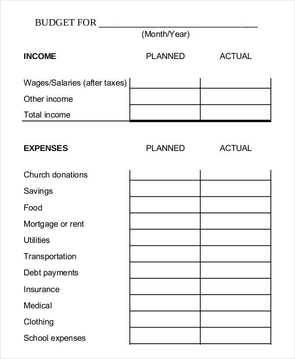 Printable Budget Worksheet Template   Free Word Excel Pdf