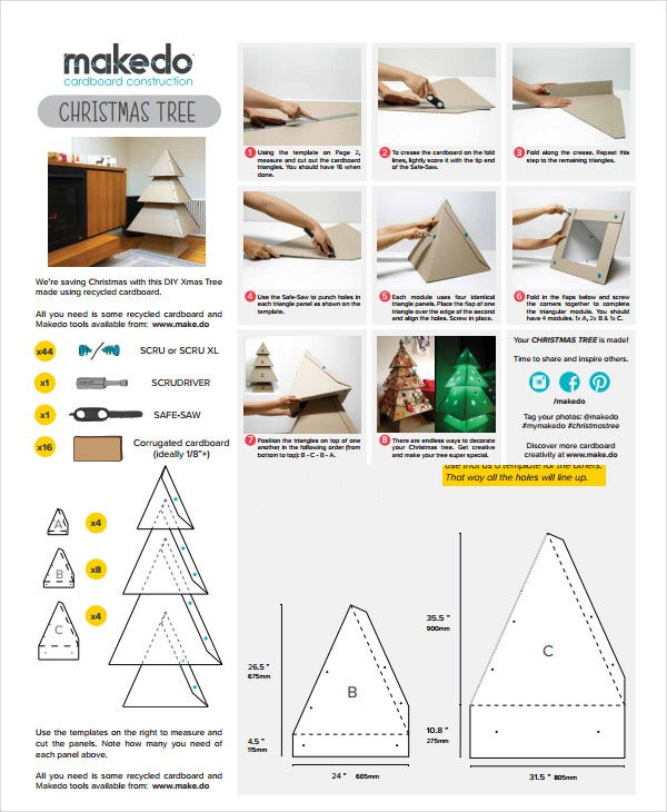 Cardboard Christmas Tree Template