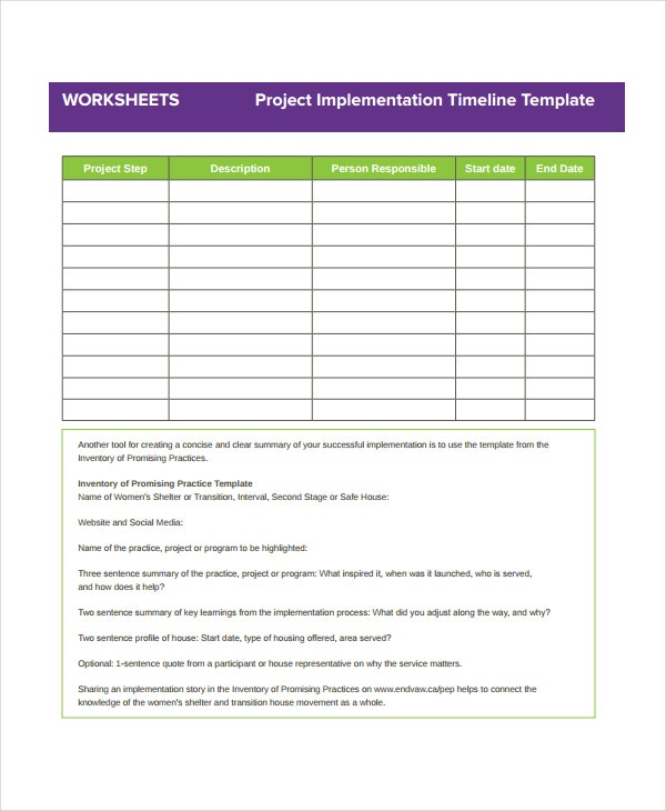 project implementation timeline template