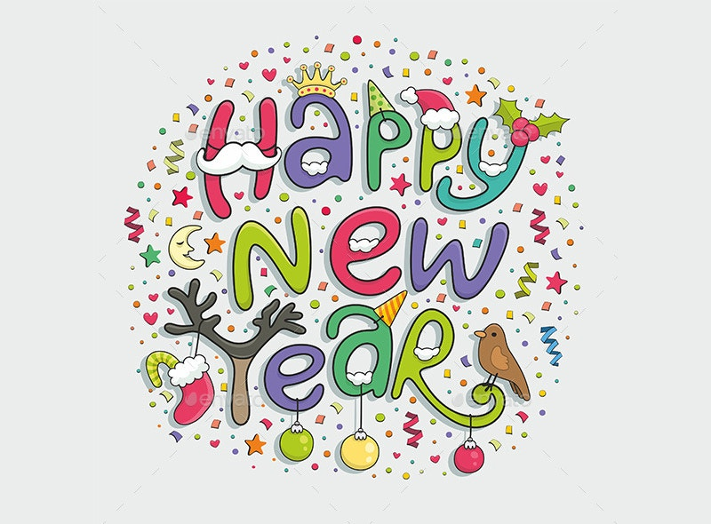 happy new year typography design