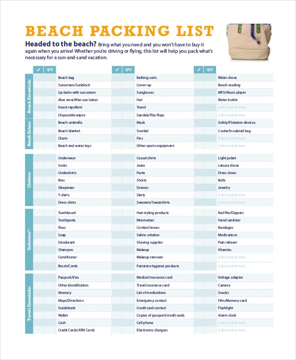 Travel Packing List 10 Free Word PDF PSD Documents Download – Packing List Format in Word