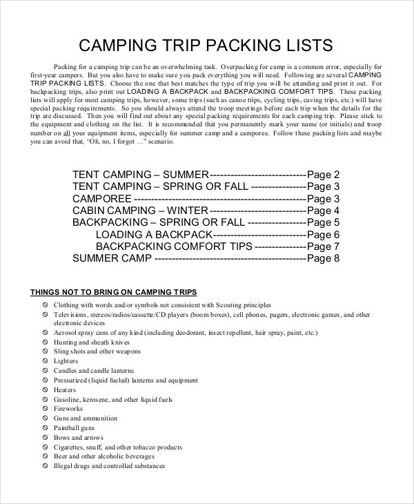 camping trips travel packing list