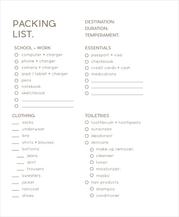 business trip packing list