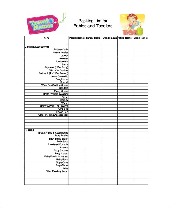 Travel packing list 10 free word pdf psd documents download travelling with baby packing list pronofoot35fo Image collections