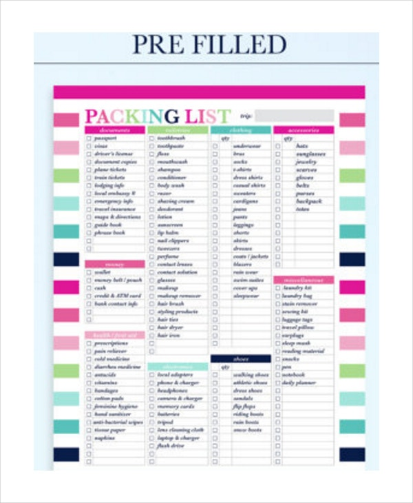 Travel Packing List 10 Free Word Pdf Psd Documents Download .  Packing Template