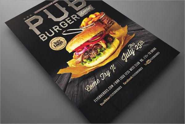 pub burger flyer templates